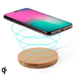 Carregador Sem Fios para Smartphones Qi 146522 (0,9 x Ø 9,1 cm) Bambu Castanho