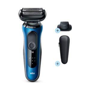 Máquina de Barbear Elétrica Recarregável Braun 60-B1200S Azul