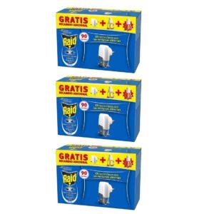 Pack 3 Quartos - Anti-mosquitos Elétrico Raid - 3 Difusor + 6 Recargas