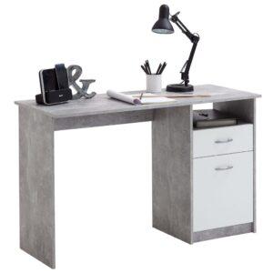 FMD Secretária com 1 gaveta 123x50x76,5 cm cinzento cimento e branco  - PORTES GRÁTIS