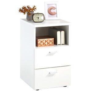 FMD Mesa de cabeceira com 2 gavetas e prateleira aberta branco - PORTES GRÁTIS