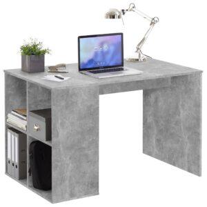FMD Secretária c/ prateleiras laterais 117x73x75 cm cinzento cimento - PORTES GRÁTIS