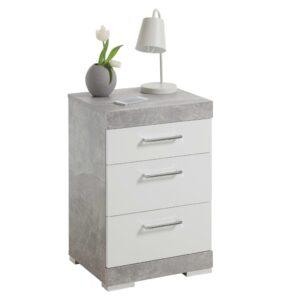 FMD Mesa de cabeceira c 3 gavetas cinzento cimento e branco brilhante - PORTES GRÁTIS