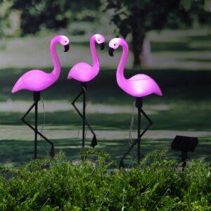 Iluminação LED Solar de Jardim Estaca Flamingo 3 pcs - PORTES GRÁTIS