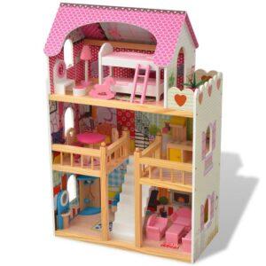 Casa de bonecas com três pisos, madeira, 60x30x90 cm - PORTES GRÁTIS