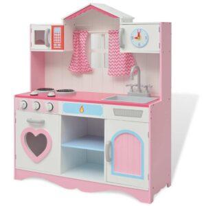 Cozinha de brincar, madeira, 82x30x100cm, rosa e branco - PORTES GRÁTIS