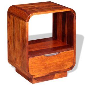 Mesa cabeceira c/ gaveta madeira sheesham maciça 40x30x50 cm - PORTES GRÁTIS