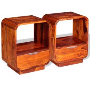Mesa cabeceira gaveta 2 pcs madeira sheesham maciça 40x30x50 cm - PORTES GRÁTIS