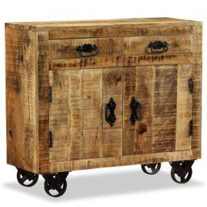 Aparador com 2 gavetas e 1 armário madeira de mangueira áspera   - PORTES GRÁTIS