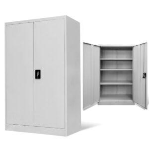Armário de escritório 90x40x140 cm aço cinzento - PORTES GRÁTIS