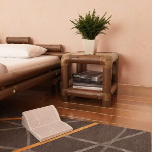 Mesa-de-cabeceira 40x40x40 cm em bambu castanho escuro   - PORTES GRÁTIS