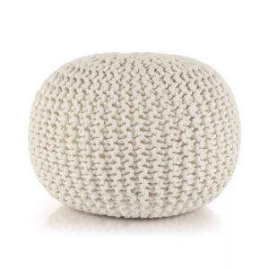 Pufe tricotado à mão algodão 50x35 cm branco - PORTES GRÁTIS