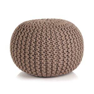 Pufe tricotado à mão algodão 50x35 cm castanho - PORTES GRÁTIS