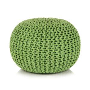 Pufe tricotado à mão algodão 50x35 cm verde - PORTES GRÁTIS