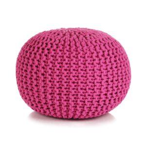 Pufe tricotado à mão algodão 50x35 cm rosa - PORTES GRÁTIS