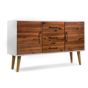 Aparador em madeira de acácia maciça 115x35x70 cm - PORTES GRÁTIS