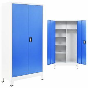 Armário escritório c/ 2 portas metal 90x40x180 cm cinza e azul - PORTES GRÁTIS