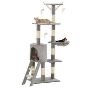 Árvore para gatos c/ postes arranhadores sisal 138 cm cinzento - PORTES GRÁTIS