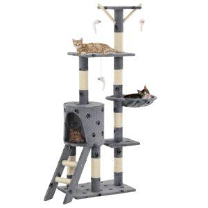 Árvore para gatos c/postes arranhadores sisal 138 cm cinzento - PORTES GRÁTIS