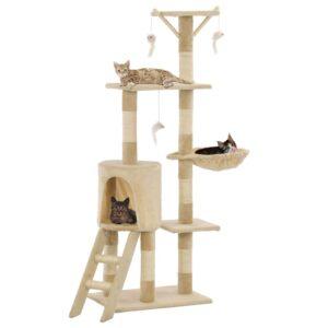 Árvore para gatos c/ postes arranhadores sisal 138 cm bege - PORTES GRÁTIS