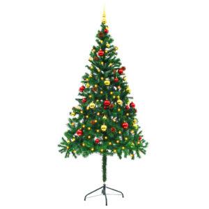 Árvore Natal artificial decorada c/ enfeites e LEDs 180cm verde - PORTES GRÁTIS