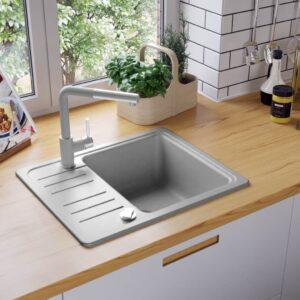 Lava-louça com 1 cuba granito cinzento  - PORTES GRÁTIS