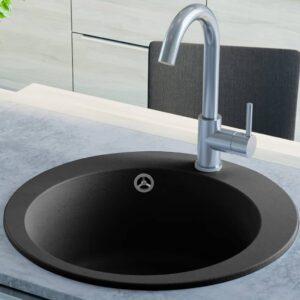 Lava-louça com 1 cuba granito redondo preto  - PORTES GRÁTIS