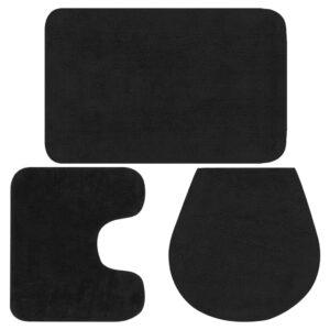 Conjunto tapetes de casa de banho 3 pcs tecido antracite - PORTES GRÁTIS