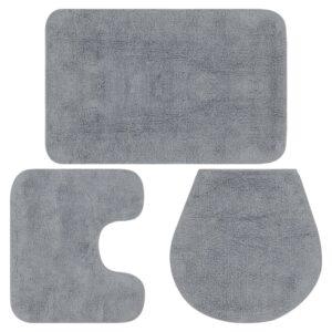 Conjunto tapetes de casa de banho 3 pcs tecido cinzento - PORTES GRÁTIS