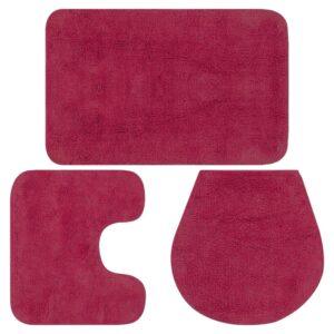 Conjunto tapetes de casa de banho 3 pcs tecido fúcsia  - PORTES GRÁTIS