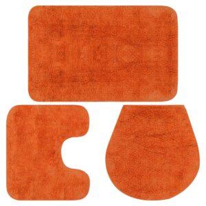 Conjunto tapetes de casa de banho 3 pcs tecido laranja - PORTES GRÁTIS