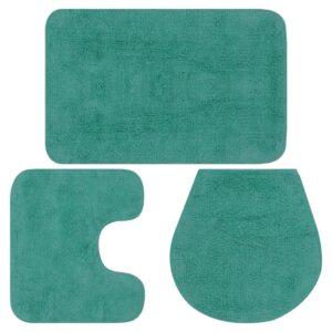 Conjunto tapetes de casa de banho 3 pcs tecido turquesa - PORTES GRÁTIS