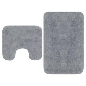 Conjunto tapetes de casa de banho 2 pcs tecido cinzento - PORTES GRÁTIS