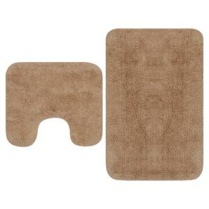 Conjunto tapetes de casa de banho 2 pcs tecido bege - PORTES GRÁTIS