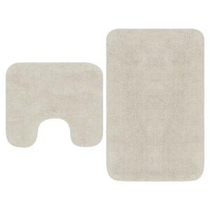 Conjunto tapetes de casa de banho 2 pcs tecido branco - PORTES GRÁTIS