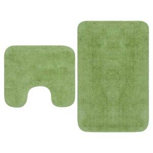 Conjunto tapetes de casa de banho 2 pcs tecido verde - PORTES GRÁTIS