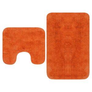 Conjunto tapetes de casa de banho 2 pcs tecido laranja - PORTES GRÁTIS