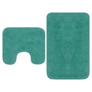 Conjunto tapetes de casa de banho 2 pcs tecido turquesa - PORTES GRÁTIS