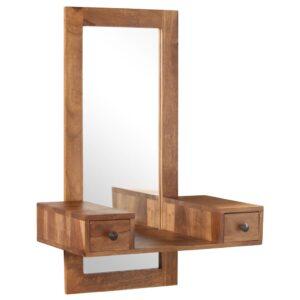 Espelho de cosmética com 2 gavetas madeira sheesham maciça - PORTES GRÁTIS