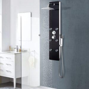 Coluna de duche em vidro 25x44,6x130 cm preto - PORTES GRÁTIS