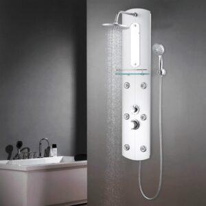 Coluna de duche em vidro 25x43x120 cm prateado - PORTES GRÁTIS