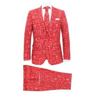 2 pcs fato de Natal c/ gravata homem tam. 48 prendas vermelho  - PORTES GRÁTIS
