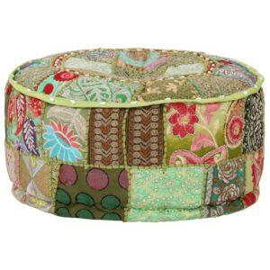 Pufe de retalhos redondo algodão artesanal 40x20 cm verde - PORTES GRÁTIS