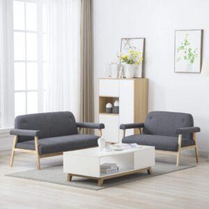 Conjunto de sofás para 5 pessoas 2 pcs tecido cinzento-escuro - PORTES GRÁTIS