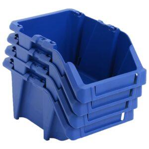 Caixas de arrumação empilháveis 250 pcs 103x165x76 mm azul - PORTES GRÁTIS