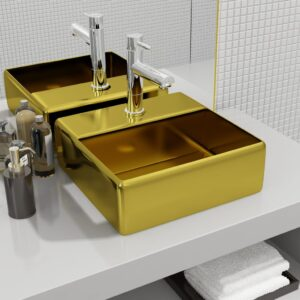 Lavatório c/ orifício torneira 38x30x11,5 cm cerâmica dourado - PORTES GRÁTIS