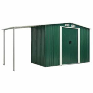 Abrigo de jardim com portas de correr 386x131x178 cm aço verde - PORTES GRÁTIS