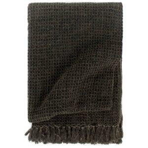 Manta em algodão 125x150 cm antracite/castanho - PORTES GRÁTIS
