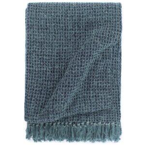 Manta em algodão 160x210 cm azul índigo - PORTES GRÁTIS