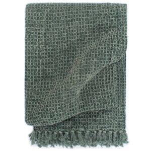 Manta em algodão 160x210 cm verde escuro  - PORTES GRÁTIS